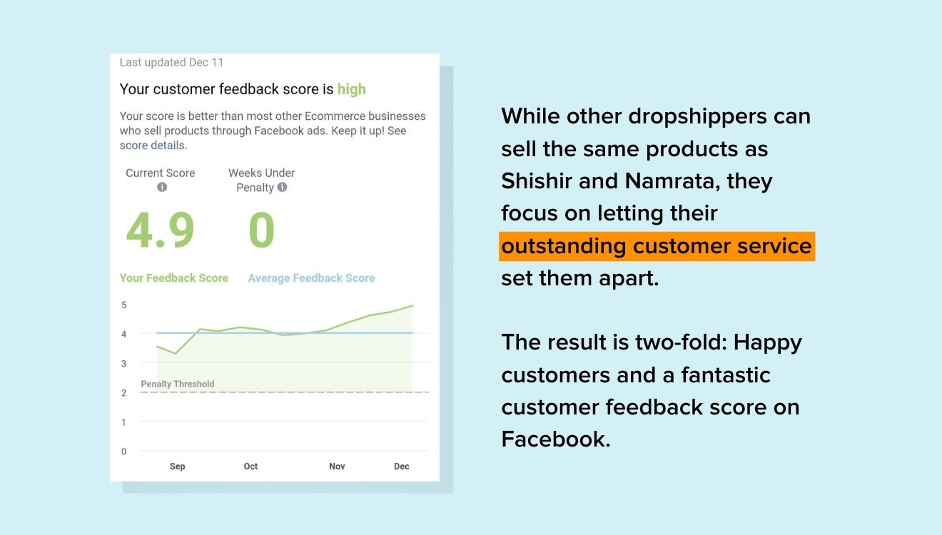 Facebook customer feedback score
