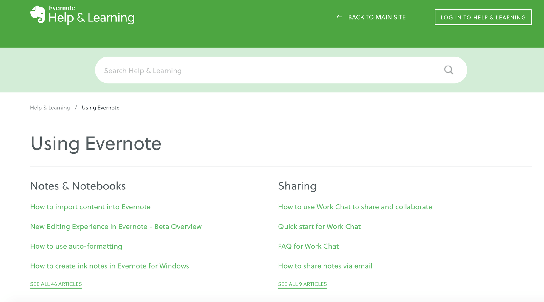 Evernote Knowledge Base