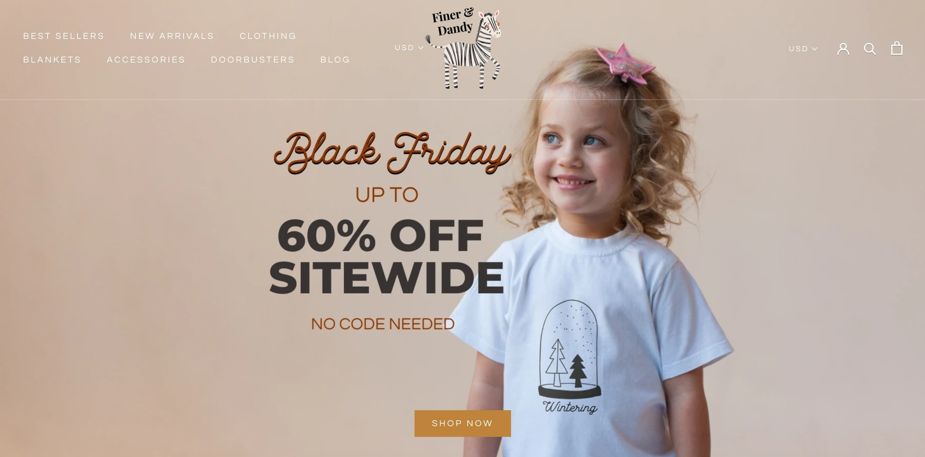 Finer and Dandy homepage with Black Friday sale