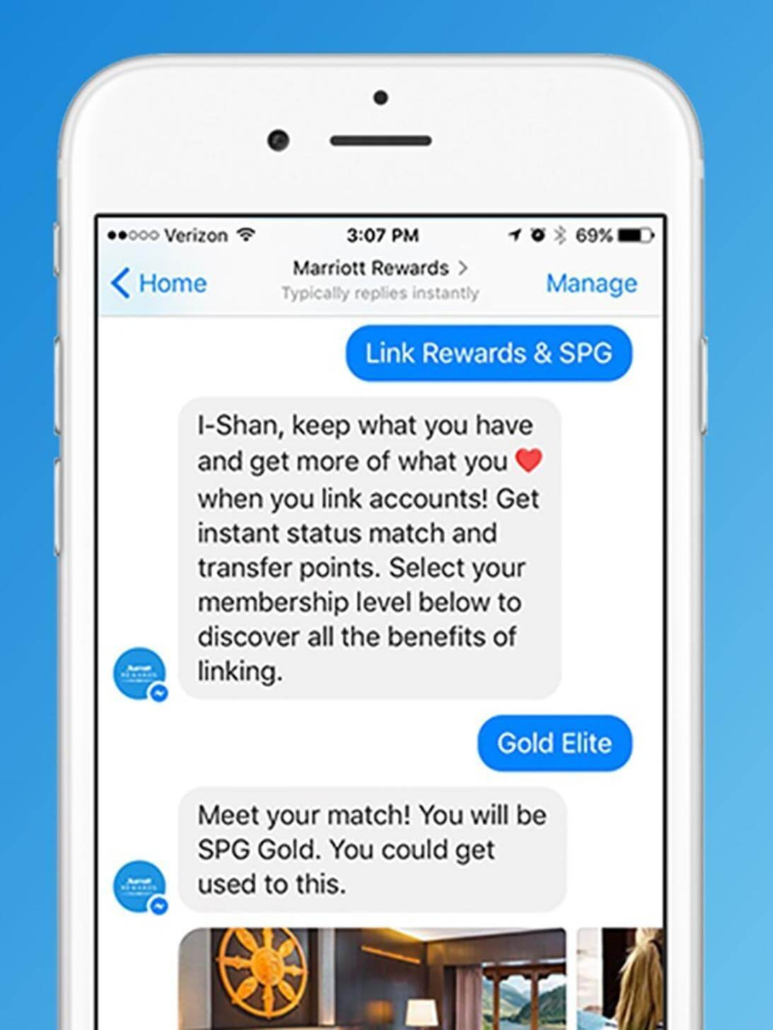 Marriot's Facebook chatbot