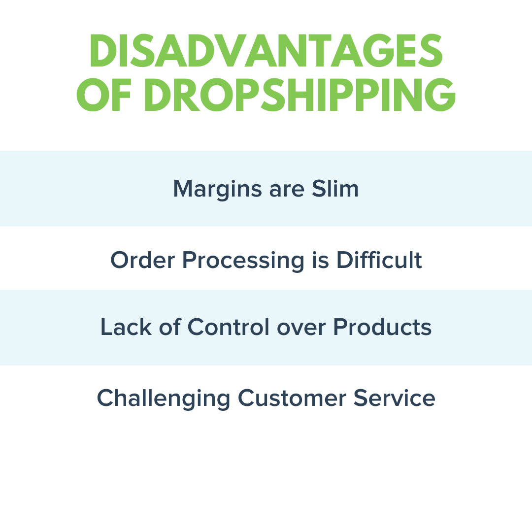 Disadvantages of Dropshipping