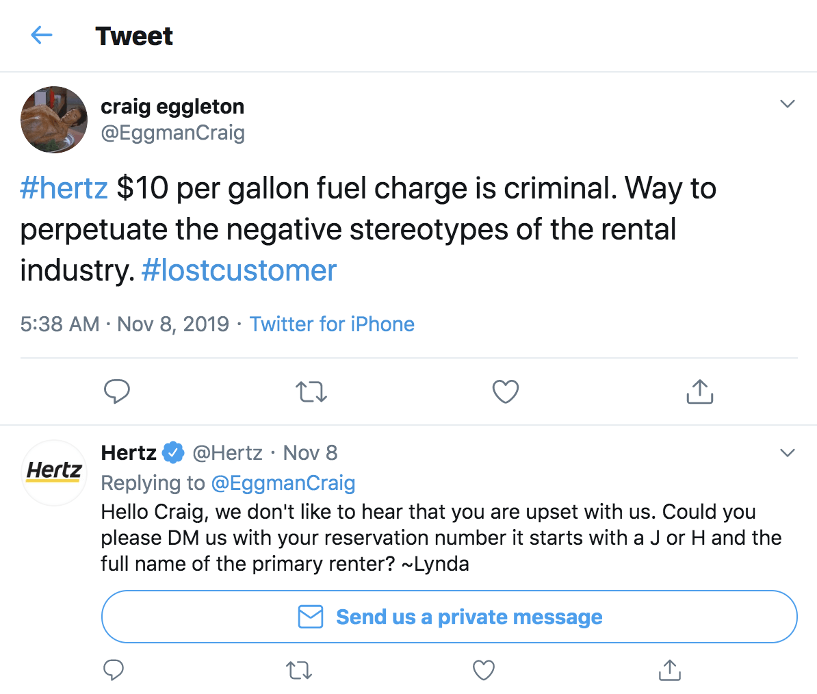 Hertz social media customer service