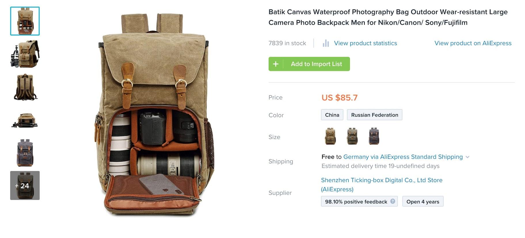 Screenshot of Oberlo listing for camera bag