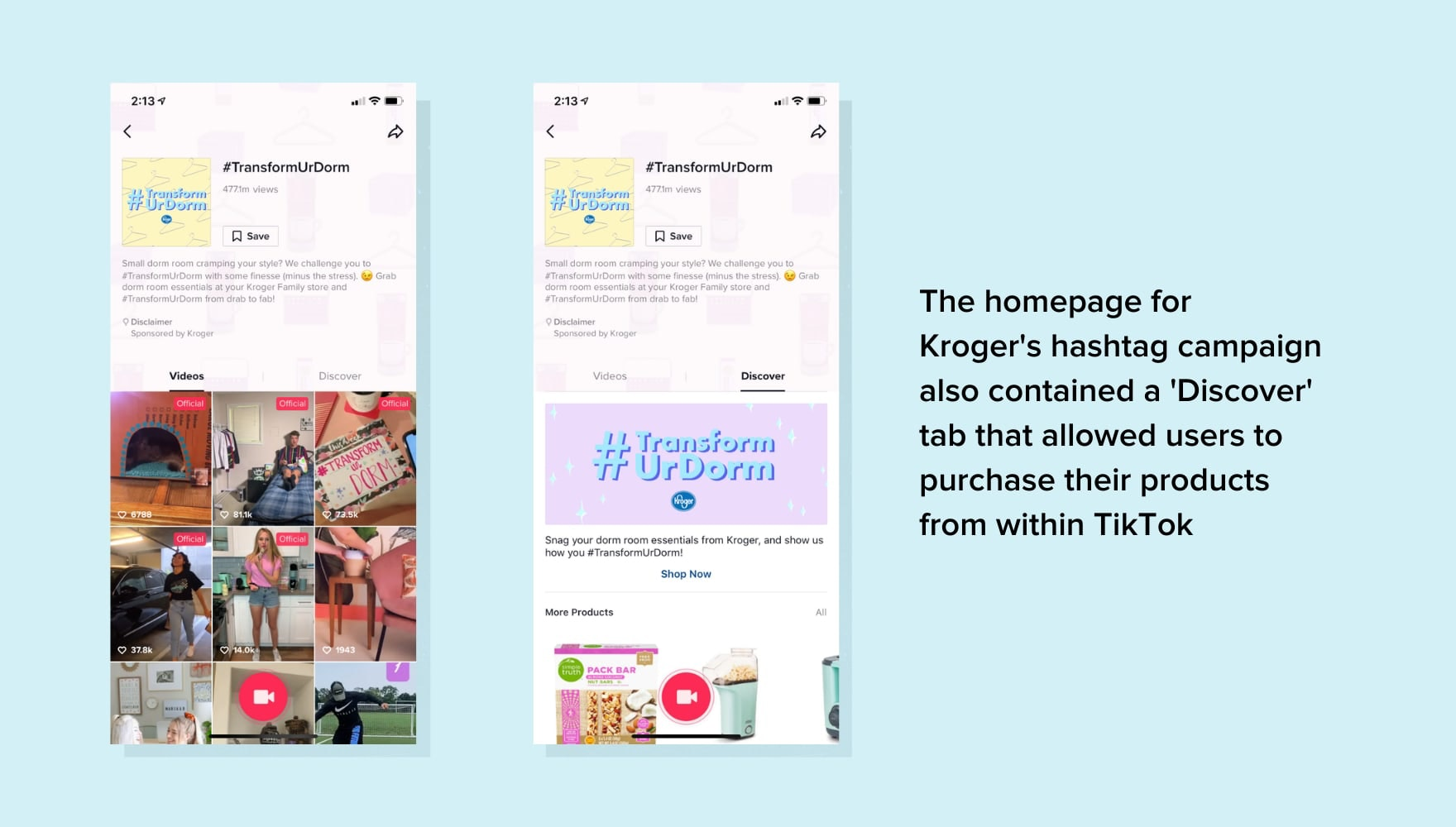 Screenshots of Kroger's paid TikTok ad campaign