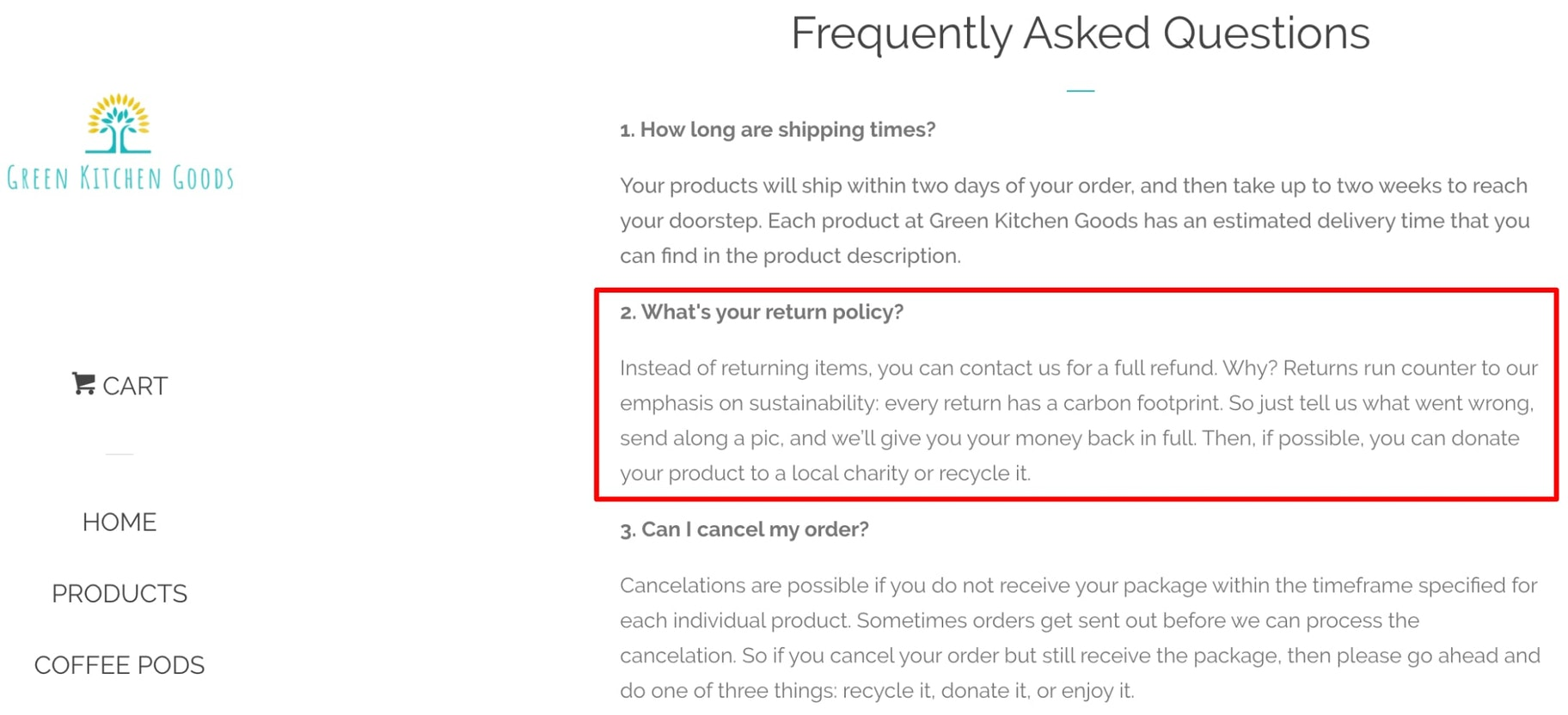 Screenshot of Green Kitchen Goods' FAQ page