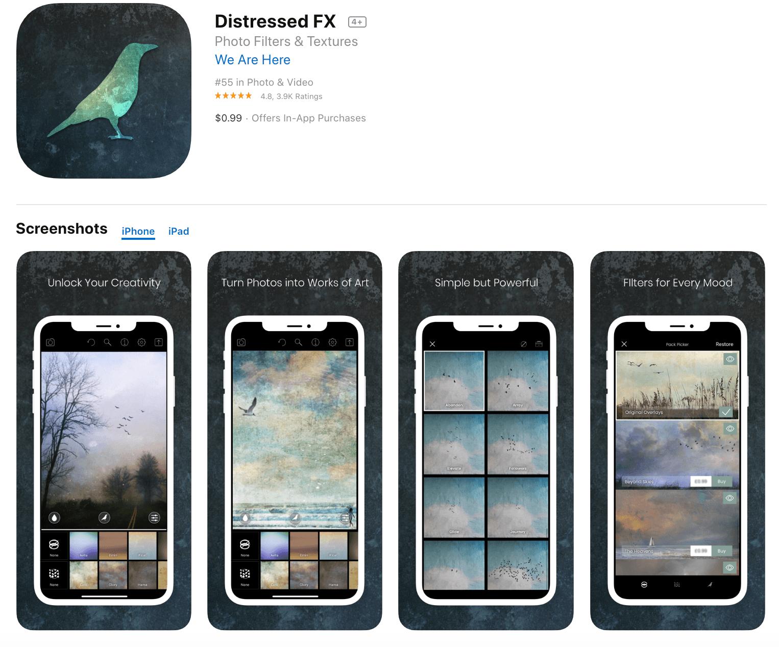 Distressed FX Paid Photo Editor App