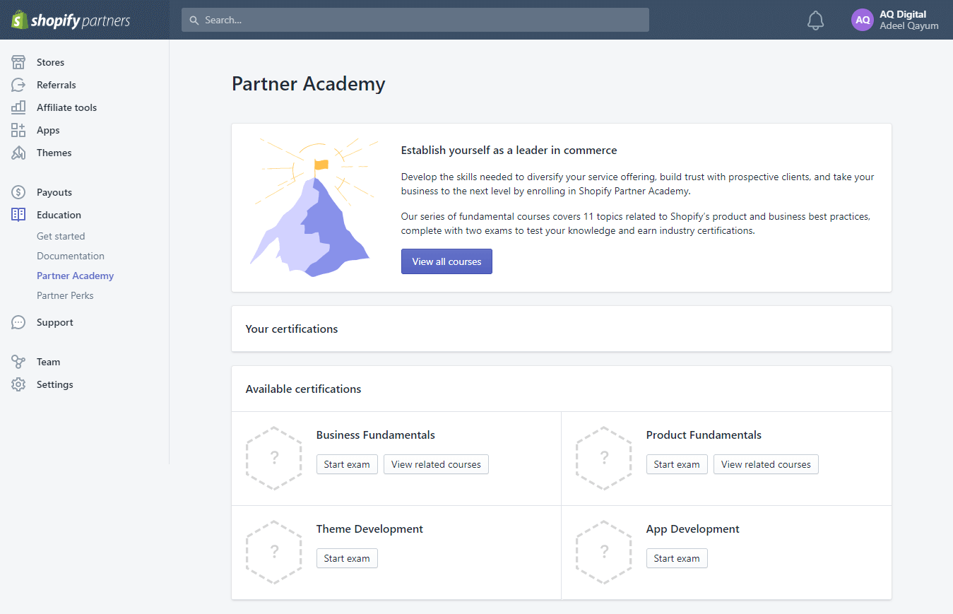 partner academy shopify