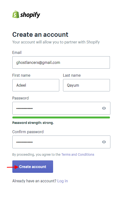 create shopify account