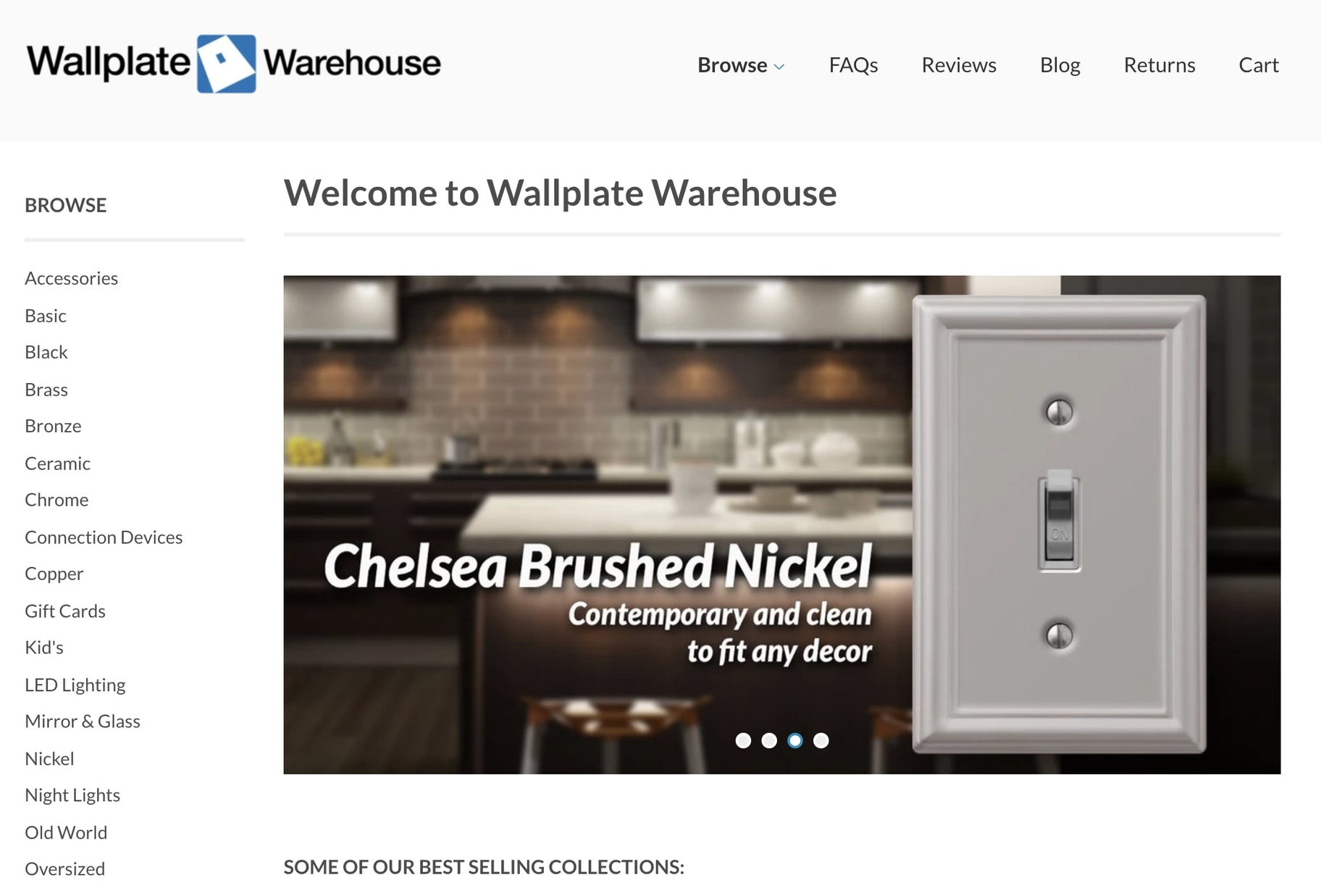 Screenshot of the Wallplate Warehouse home page