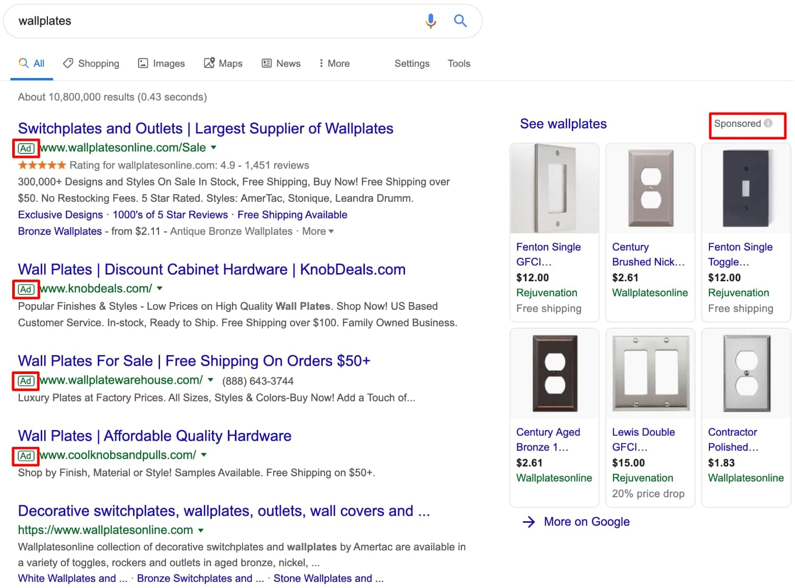 Screenshot of the results page for wallplates