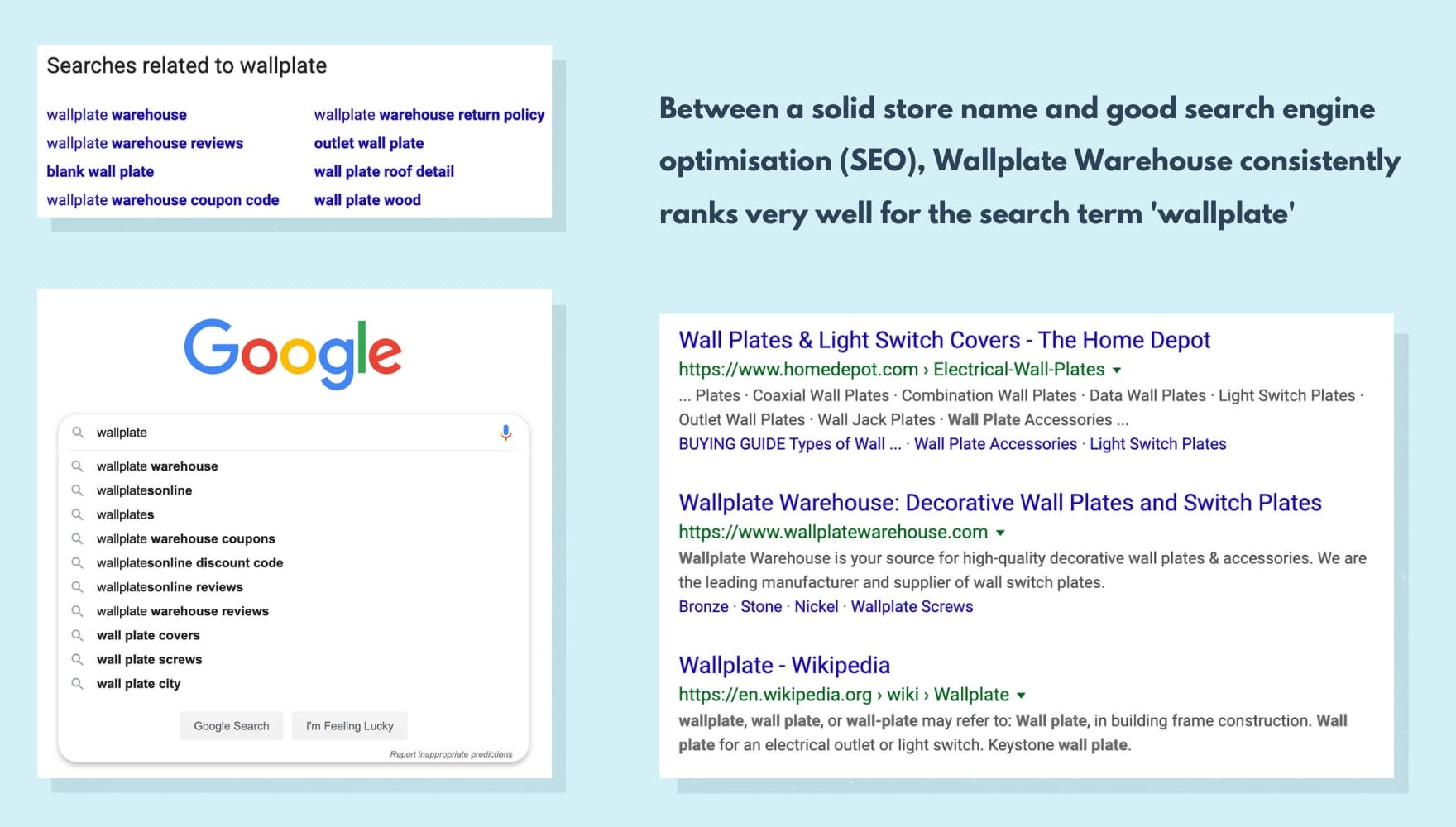 an image with screenshots of Wallplate Warehouse in SERPs