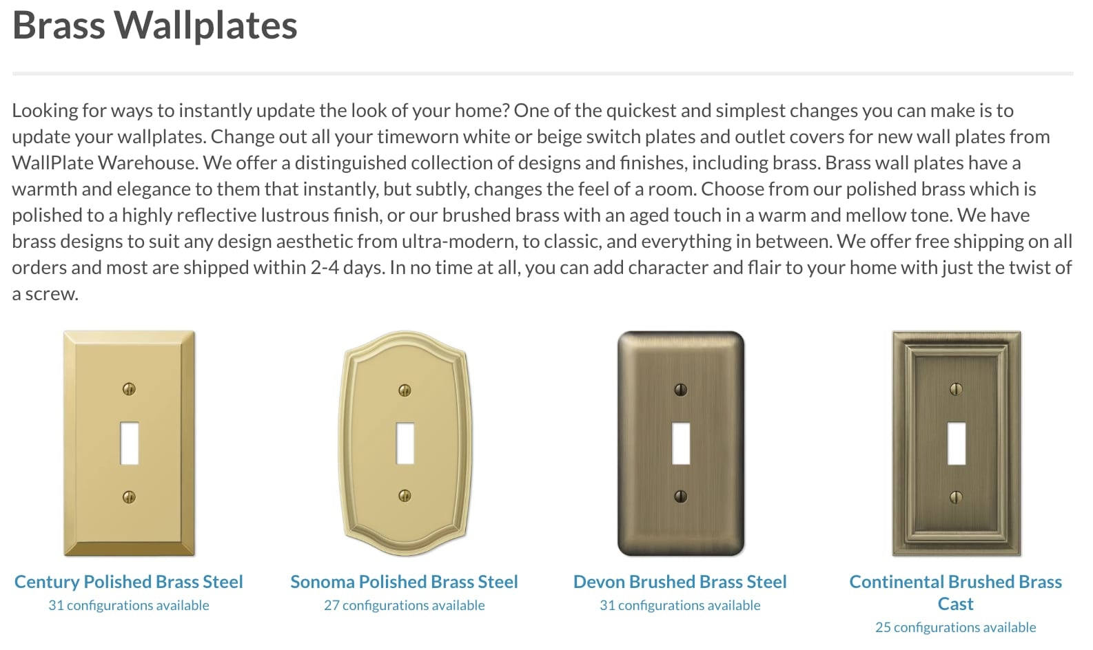 A screenshot of the Brass wallplate product page on Wallplate Warehouse