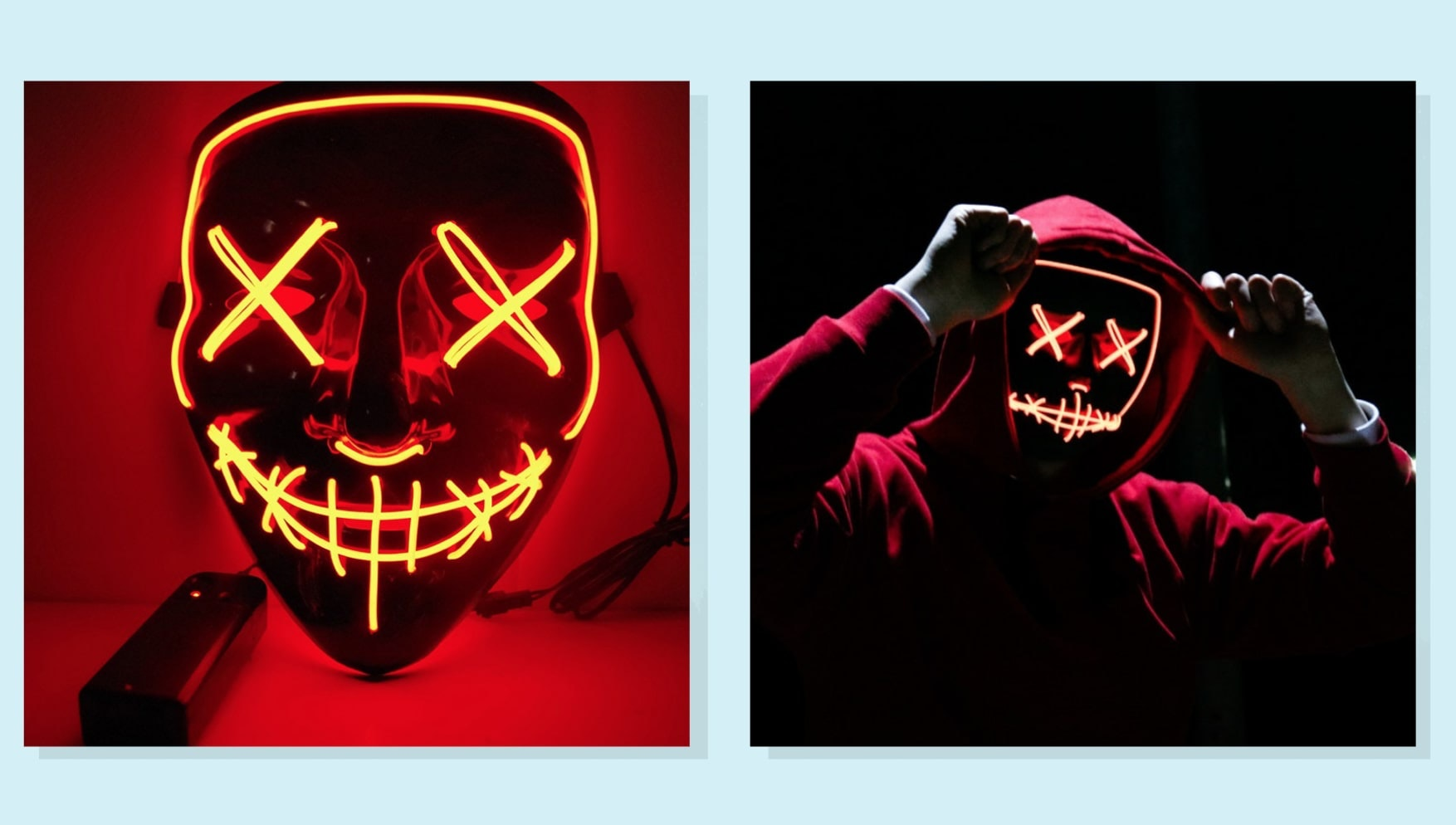 a side-by-side of a red light-up mask and someone wearing the same mask