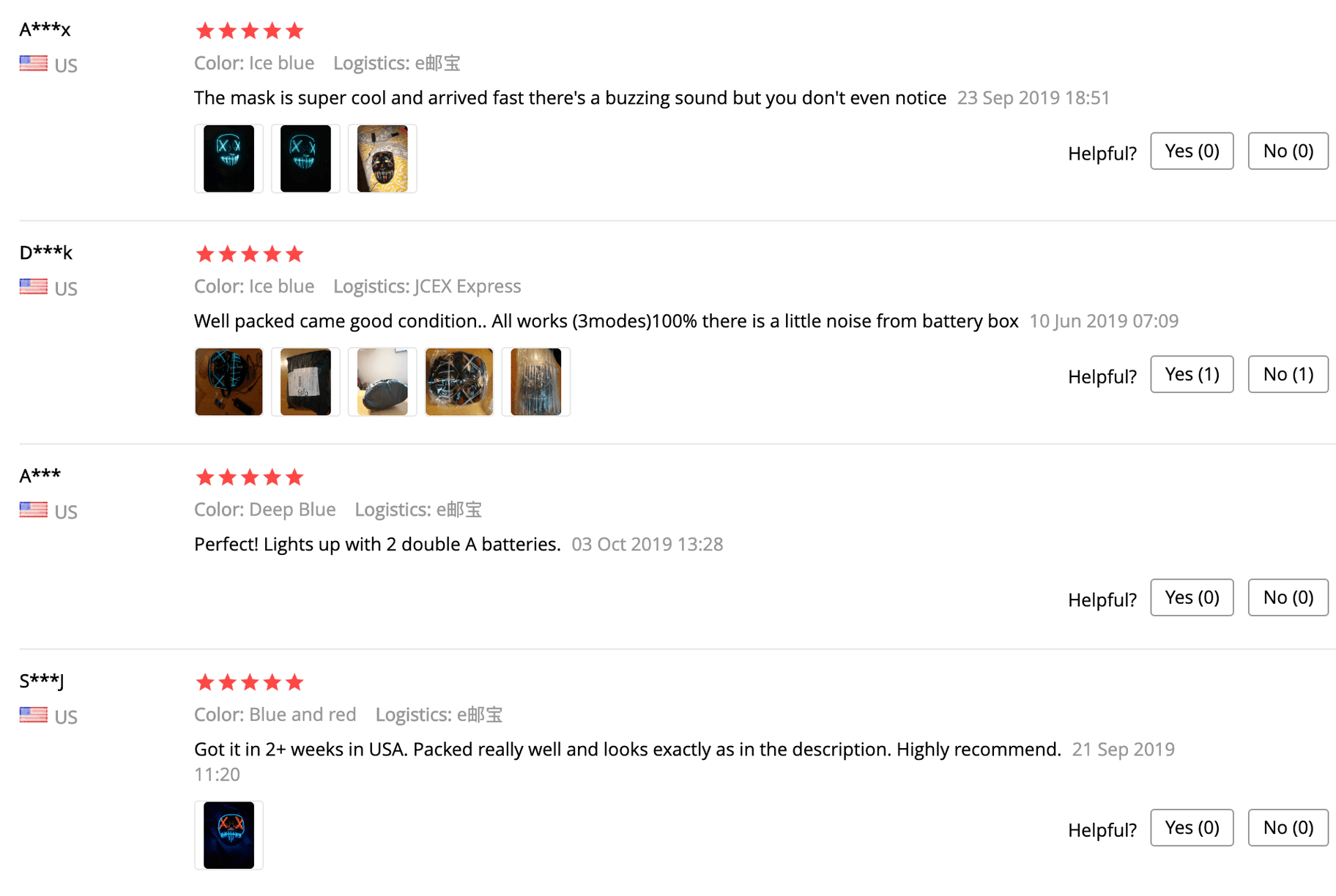 Screenshot of AliExpress reviews