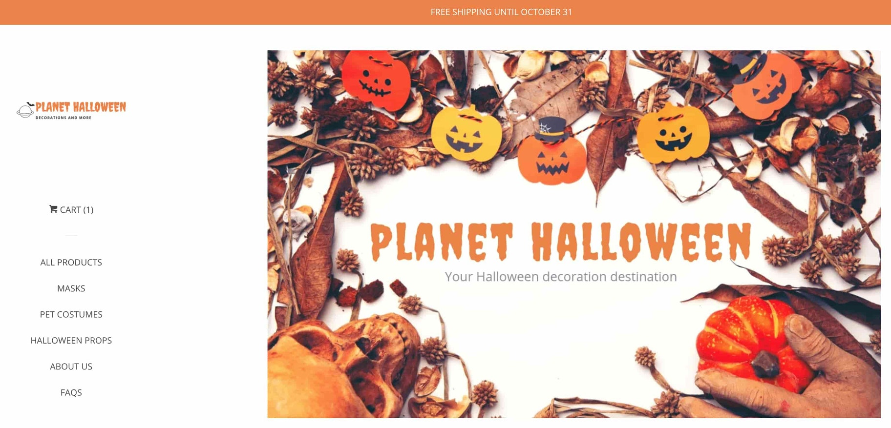 Screenshot of Planet Halloween home page