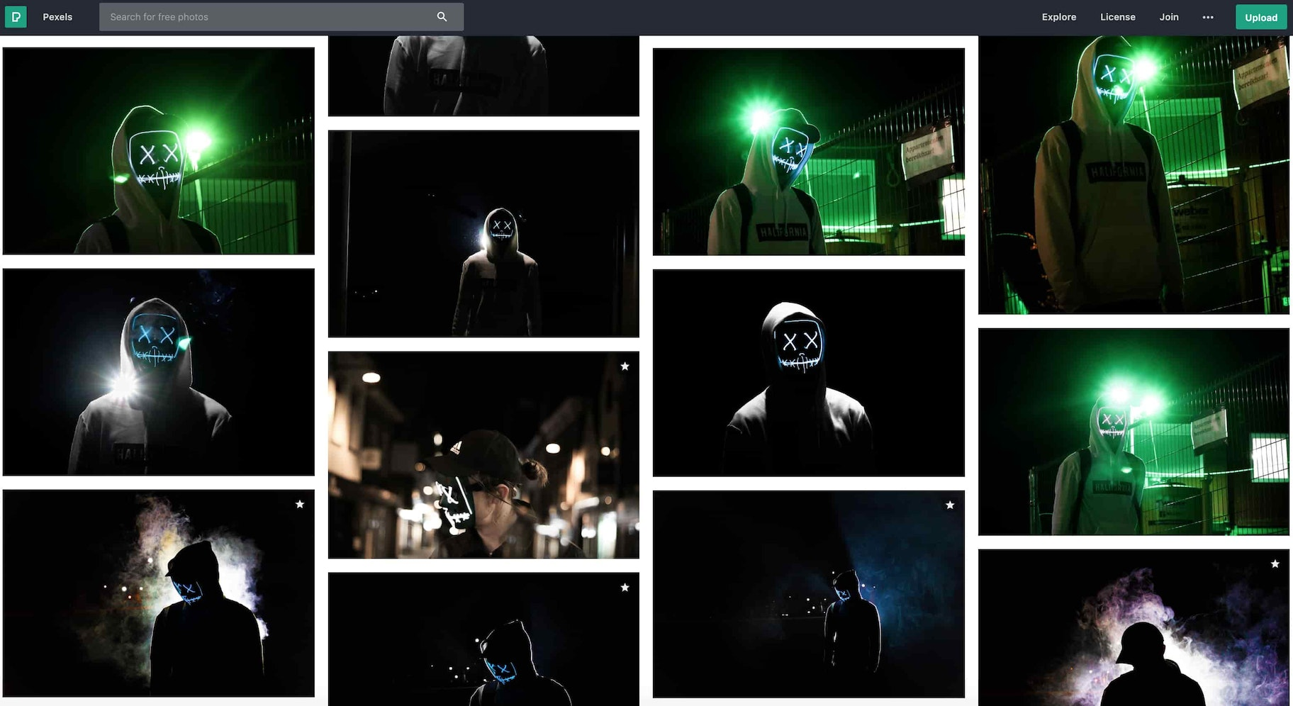 Screenshot showing many different pictures of the light-up mask on a stock image website