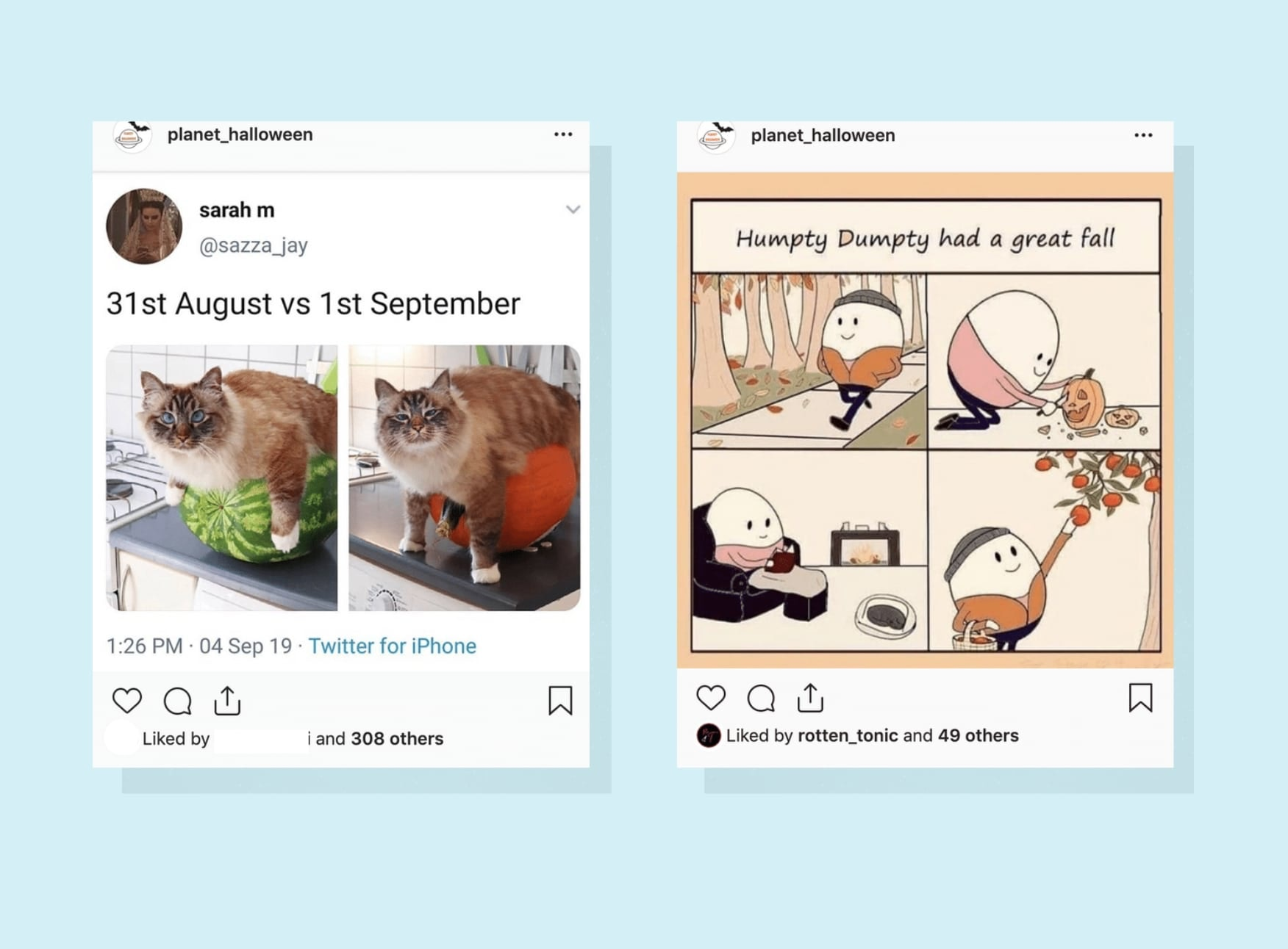 Screenshots of two fall-themed Instagram posts