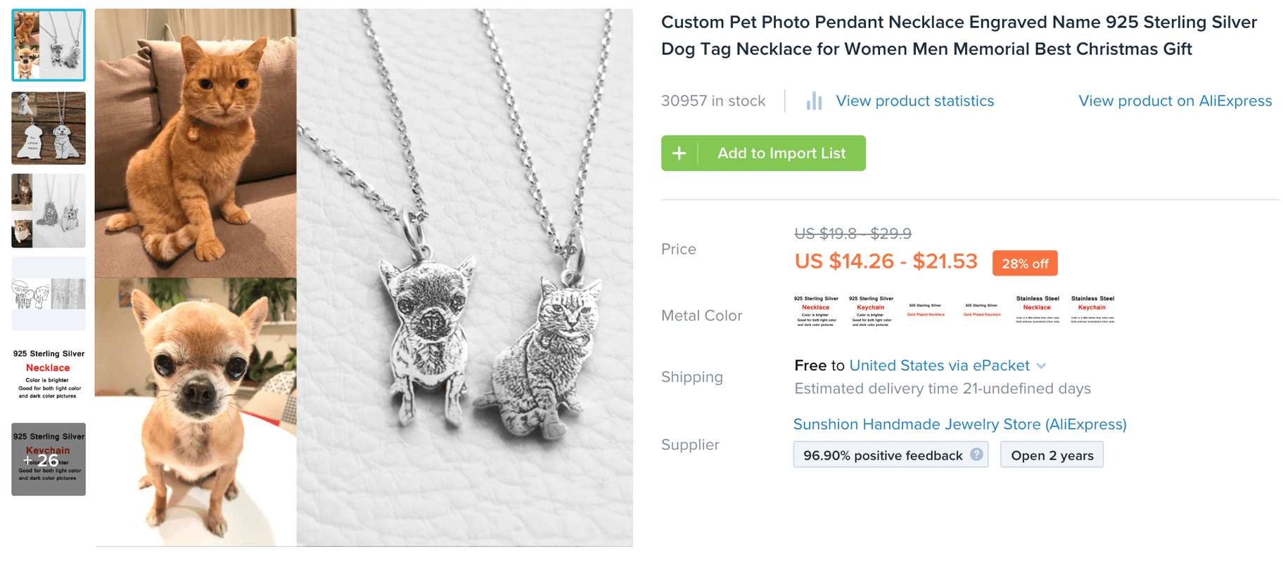 Oberlo listing for suppliers selling engraved pet picture pendants