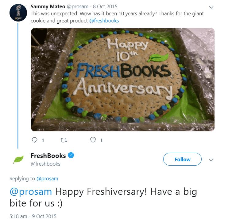 Freshbooks cookie anniversary
