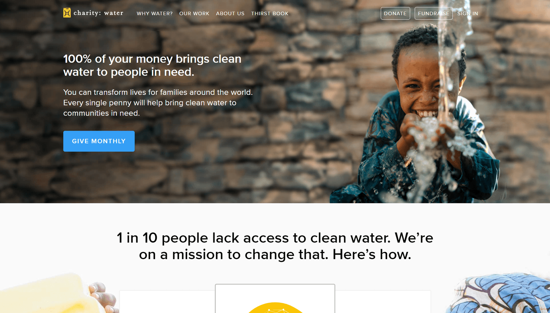 charity: water unique selling prposition
