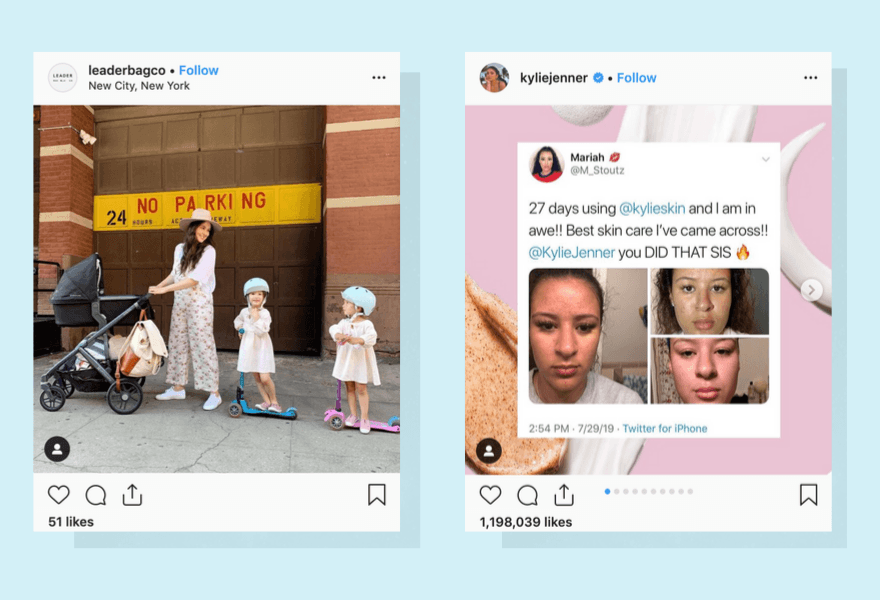 Screenshots of Leaderbags and Kylie Jenner using Instagram for their online business