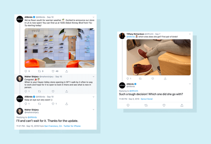 Allbirds using their Twitter account to interact with customers