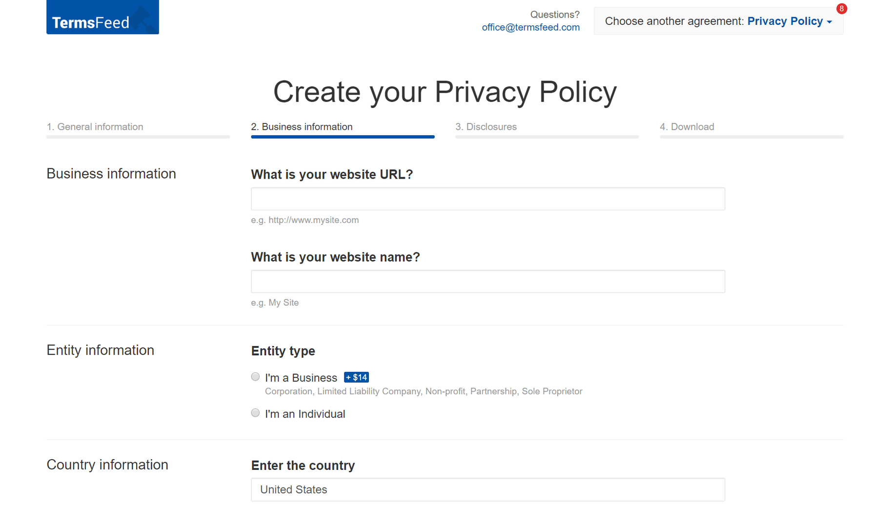 termsfeed privacy policy