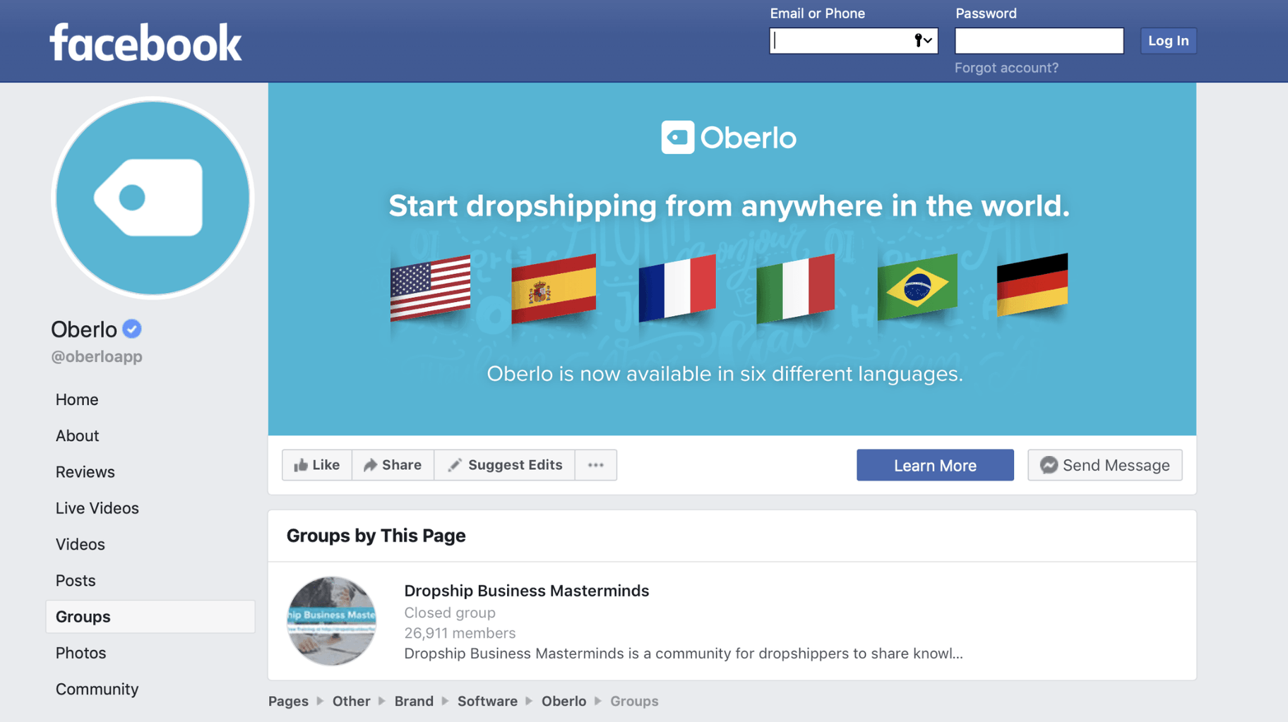 Screenshot of Oberlo Facebook page