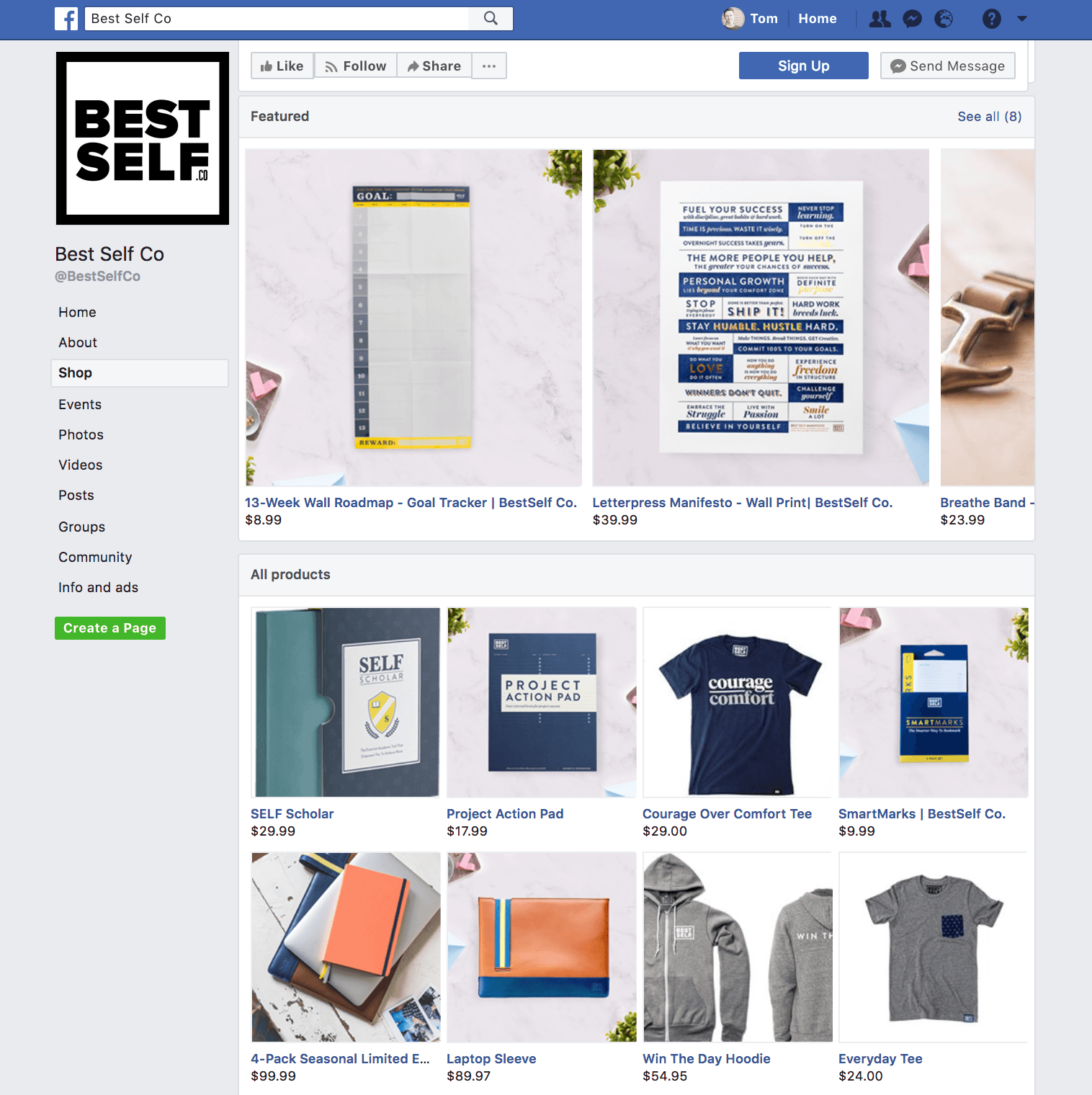 Screenshot of a Facebook Shop