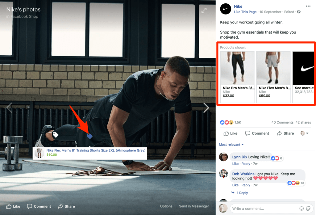 Screenshot of Nike Facebook shop example
