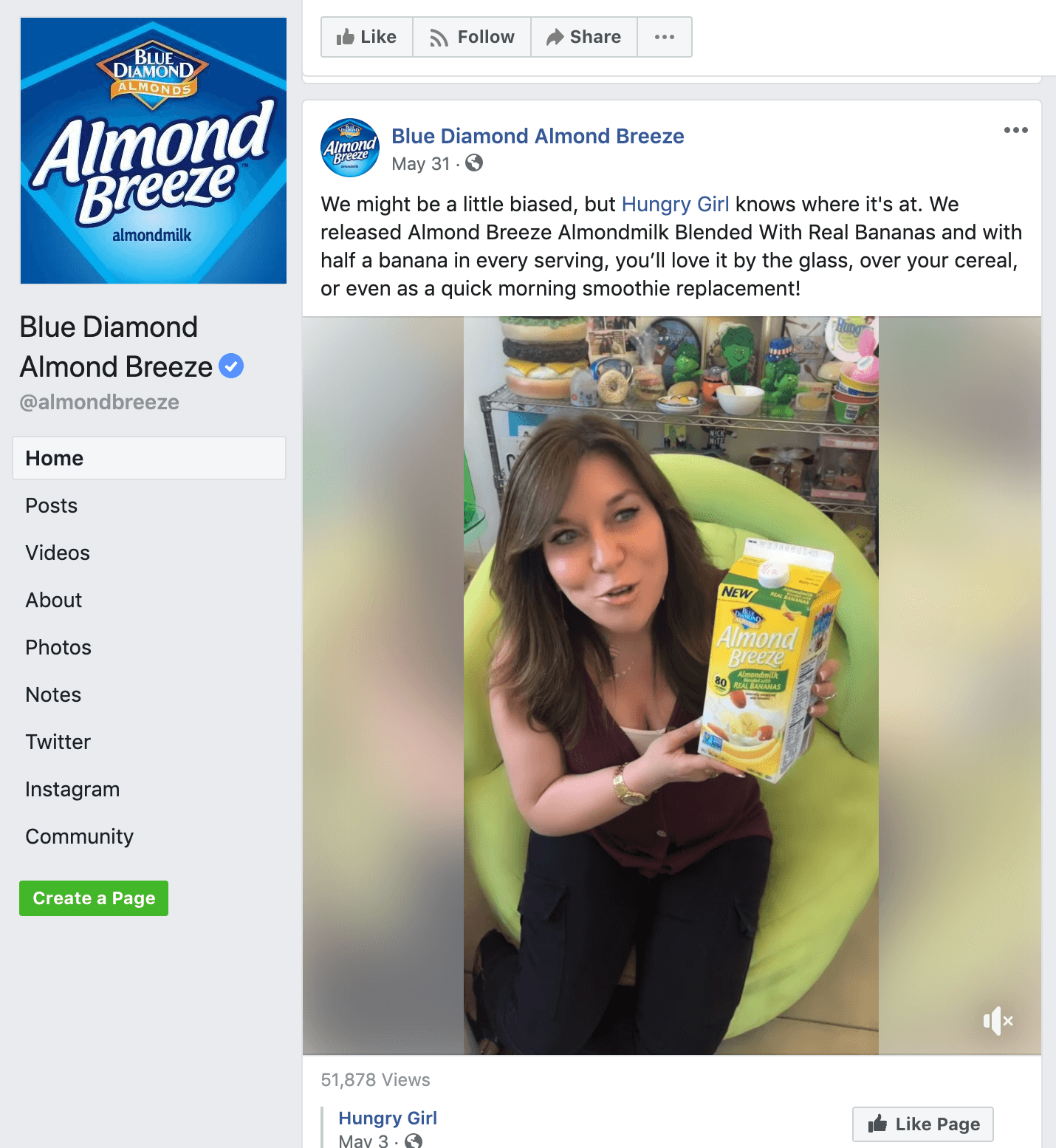 Screenshot of Almond Breeze Facebook page