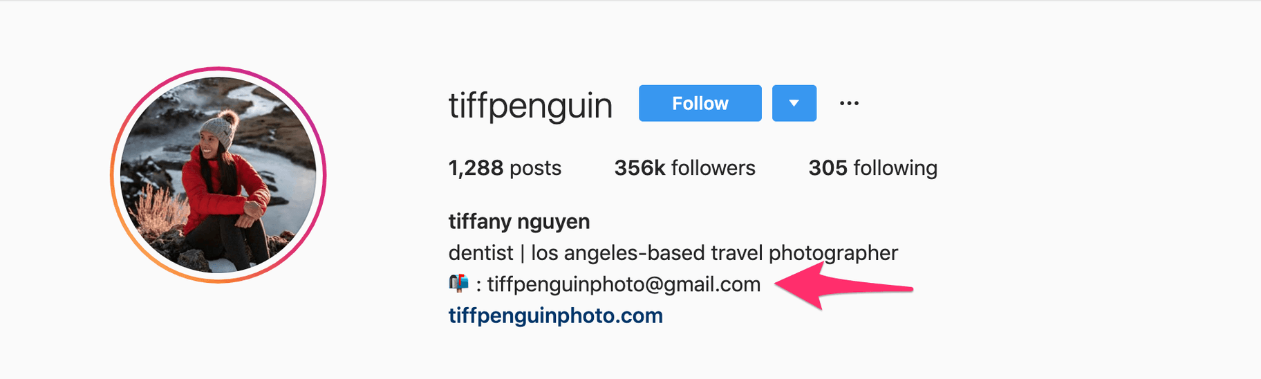 Screenshot of instagram profile with contact email