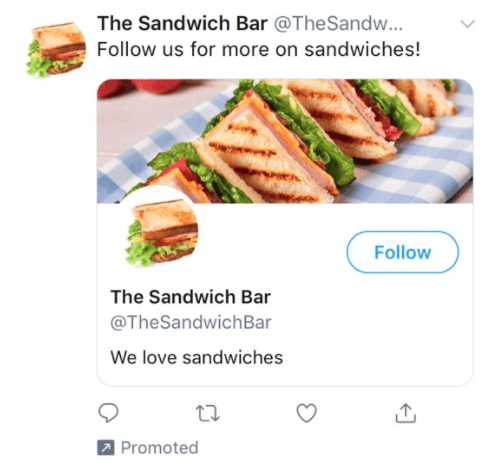 Screenshot of Twitter promoted account