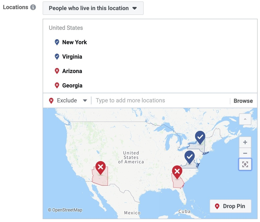 facebook ads geo targeting