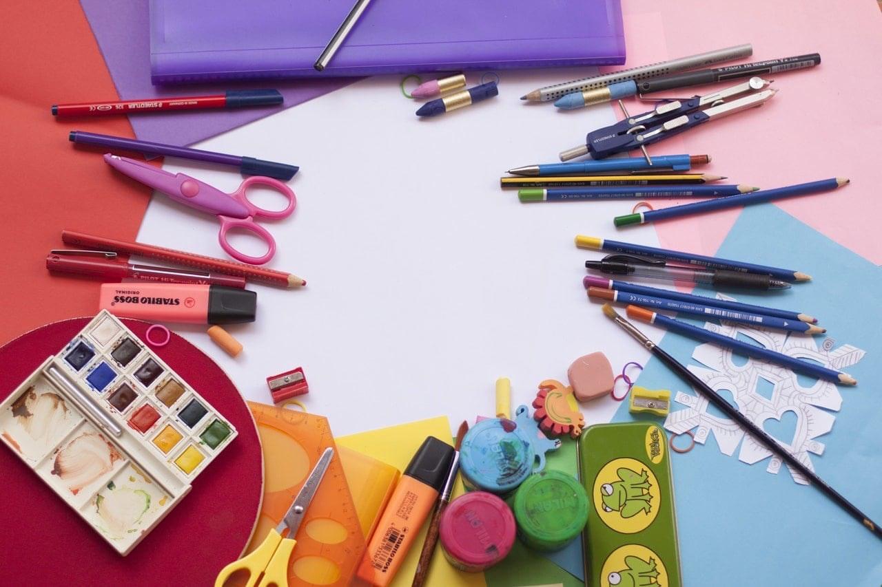 art supplies scattered around