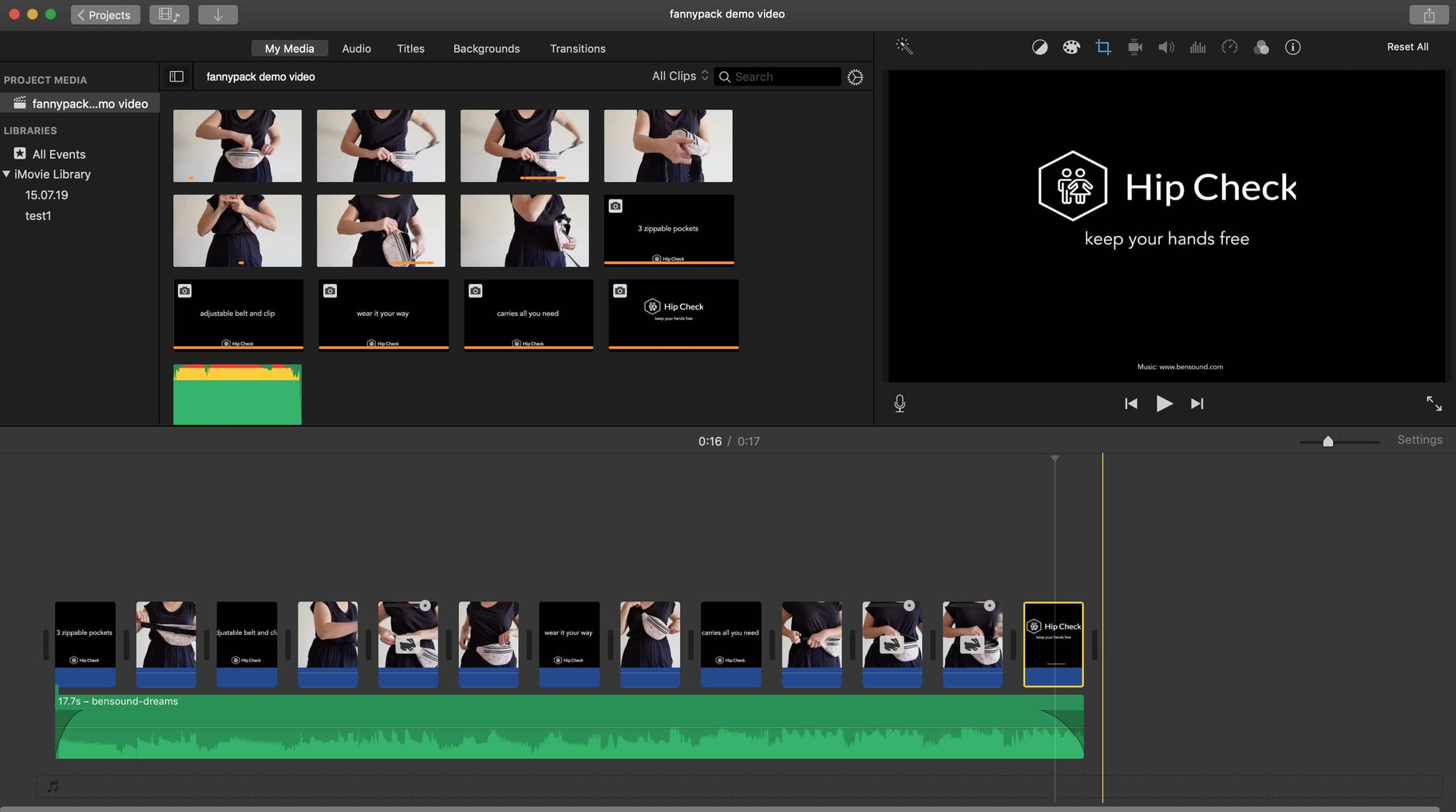 imovie editing product video footage