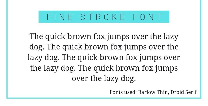 thin font and serif combination