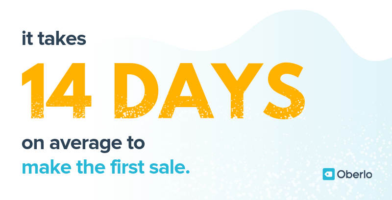 It takes 14 days on average to make your first sale