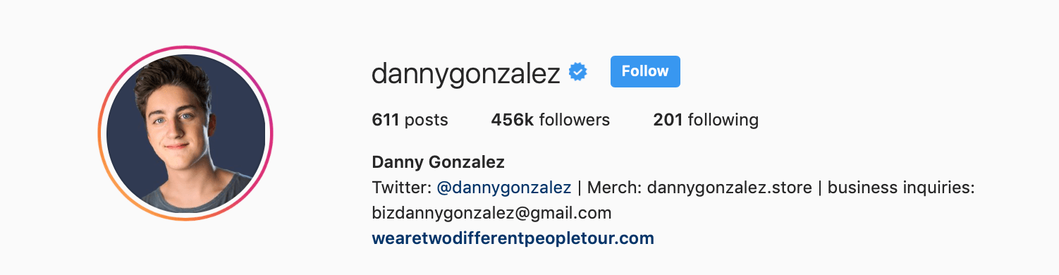 Screenshot of Instagram influencer's profile showing business contact email address