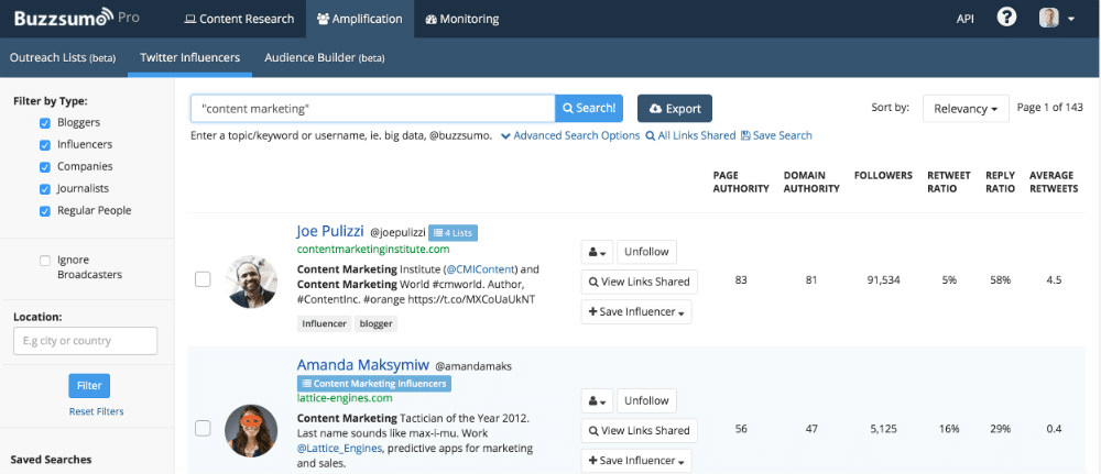Screenshot of Buzzsumo dashboard for finding influencers