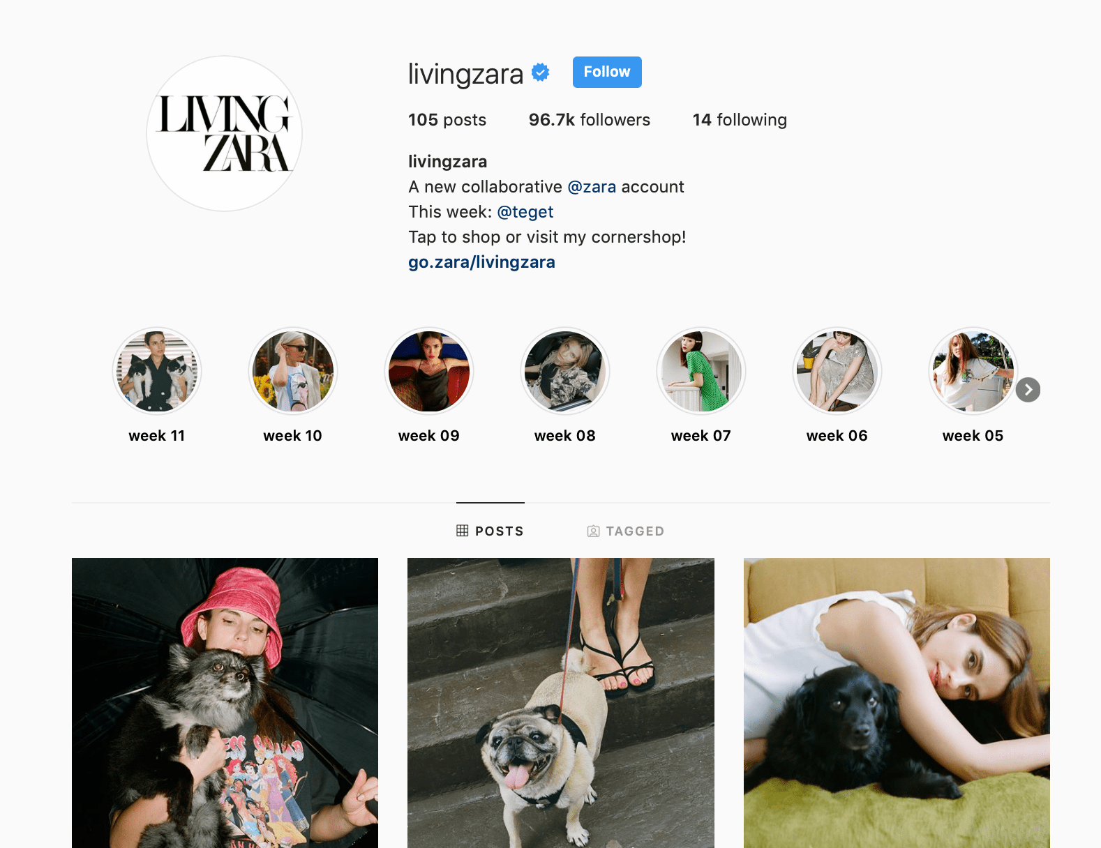 Screenshot of Living Zara Instagram page