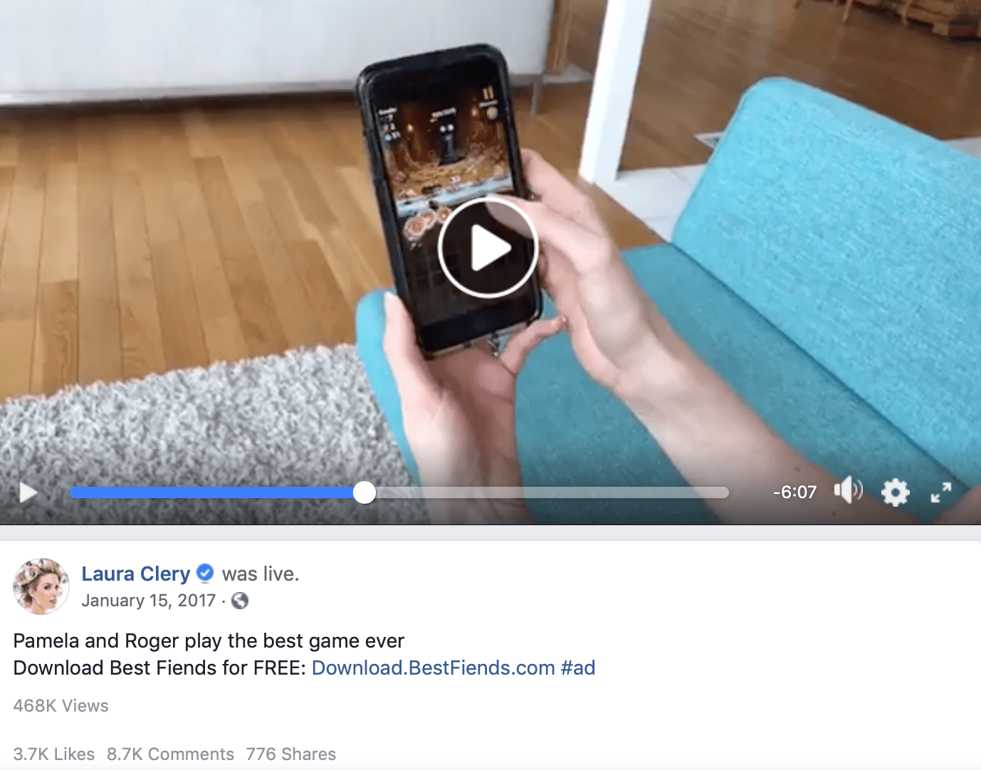 Screenshot of Facebook live video from Facebook influencer Laura Clery