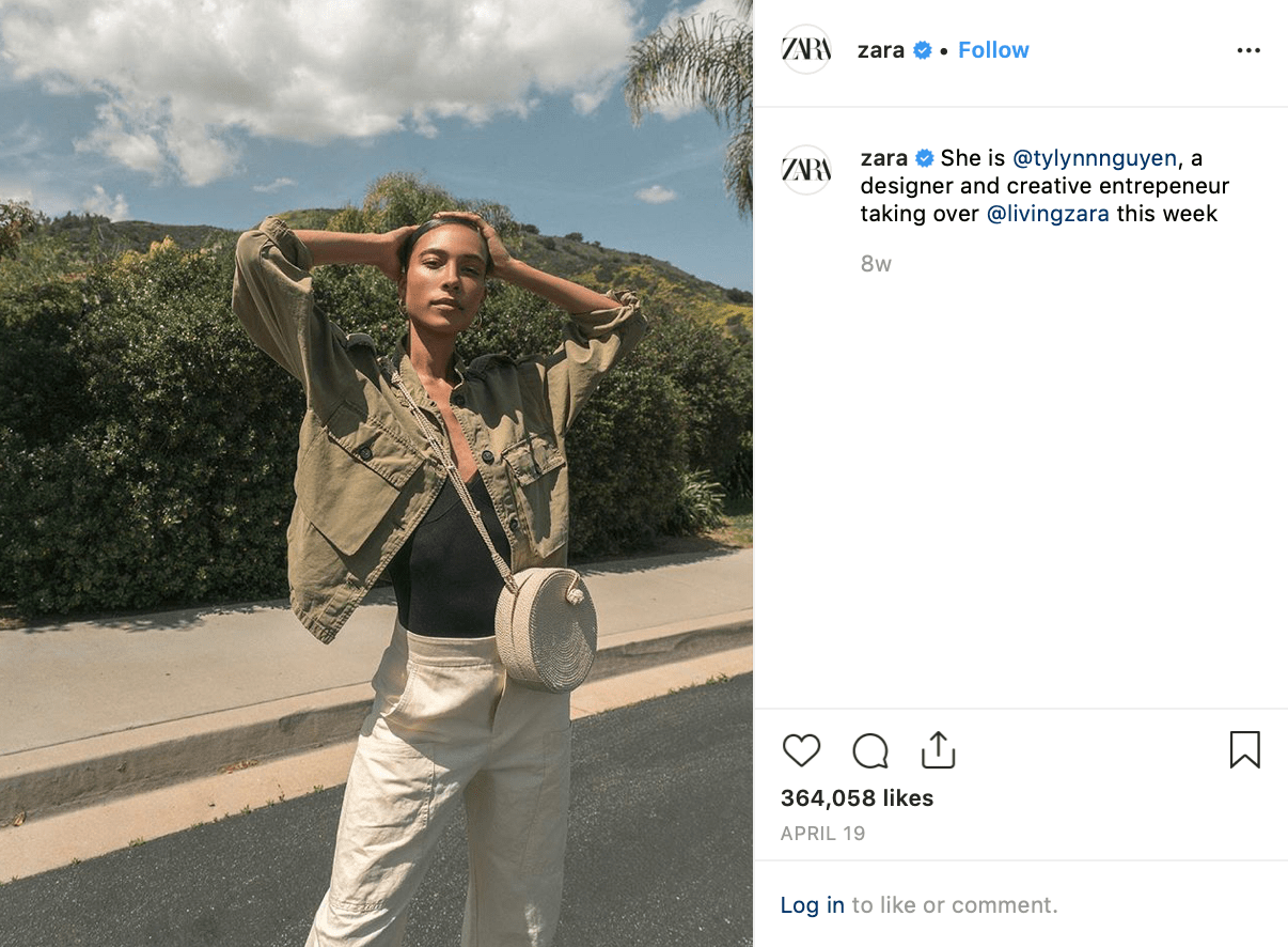 Screenshot of clothing brand Zara's Instagram post featuring an influencer