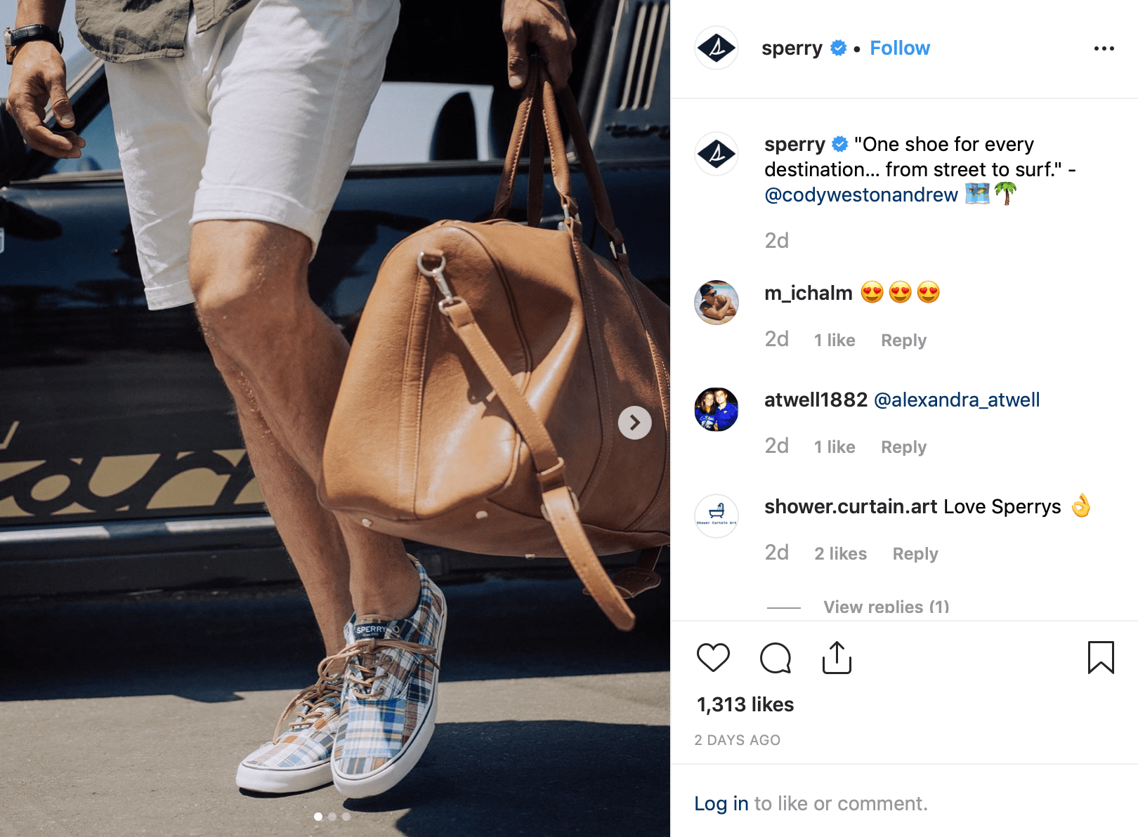 Screenshot of shoe brand Sperry's instagram post featuring an influencer