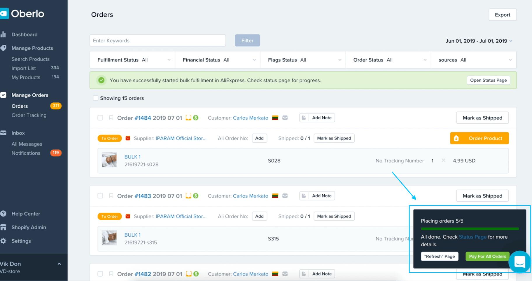 Oberlo order status screenshot
