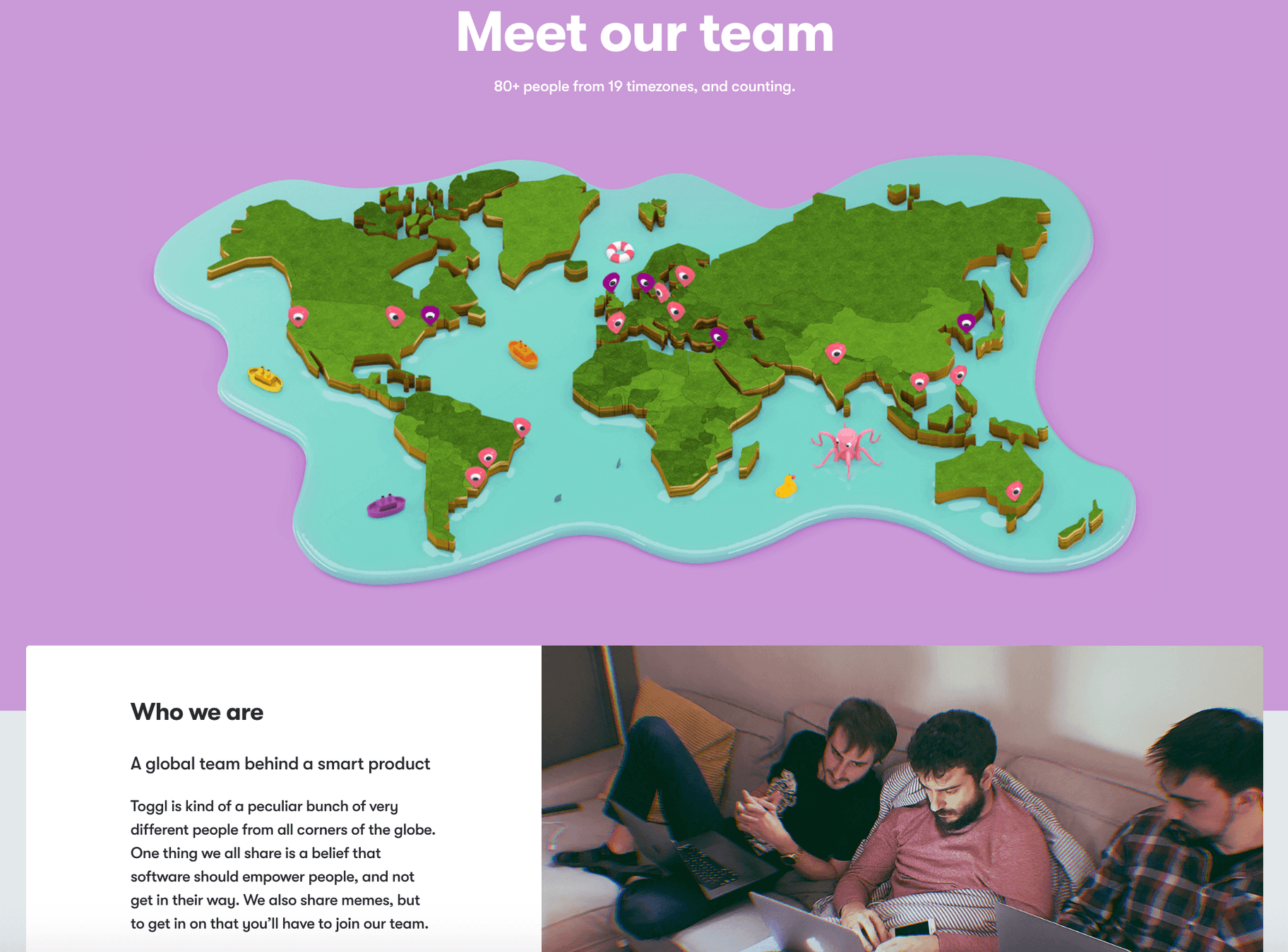Toggl About Us Page Sample