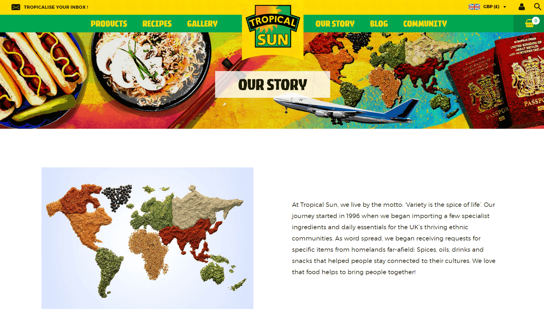 brand storytelling Tropical Sun website