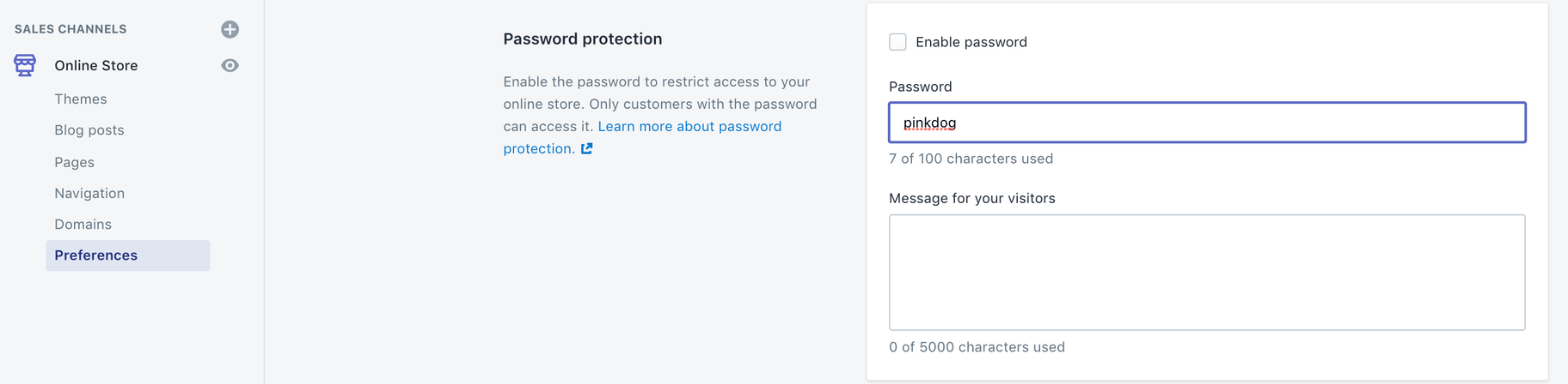 Remove password protection Shopify