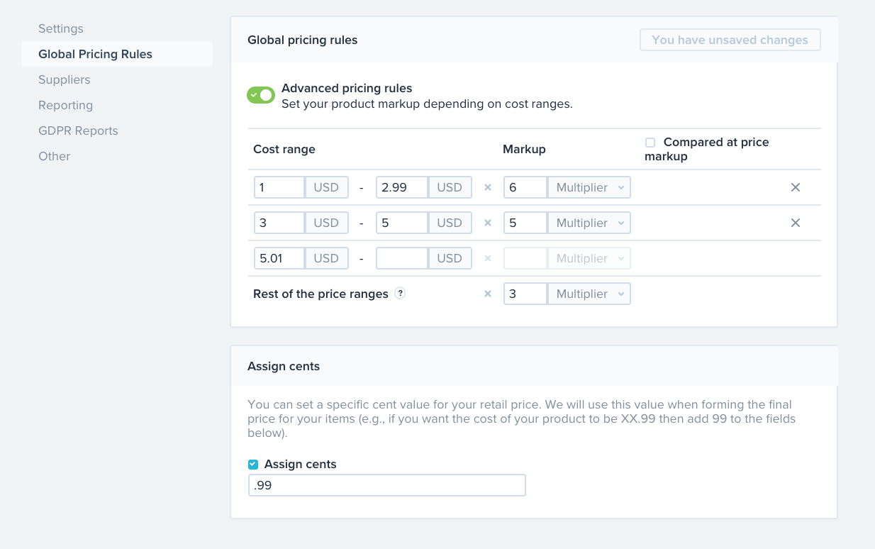 Shopify global pricing rules