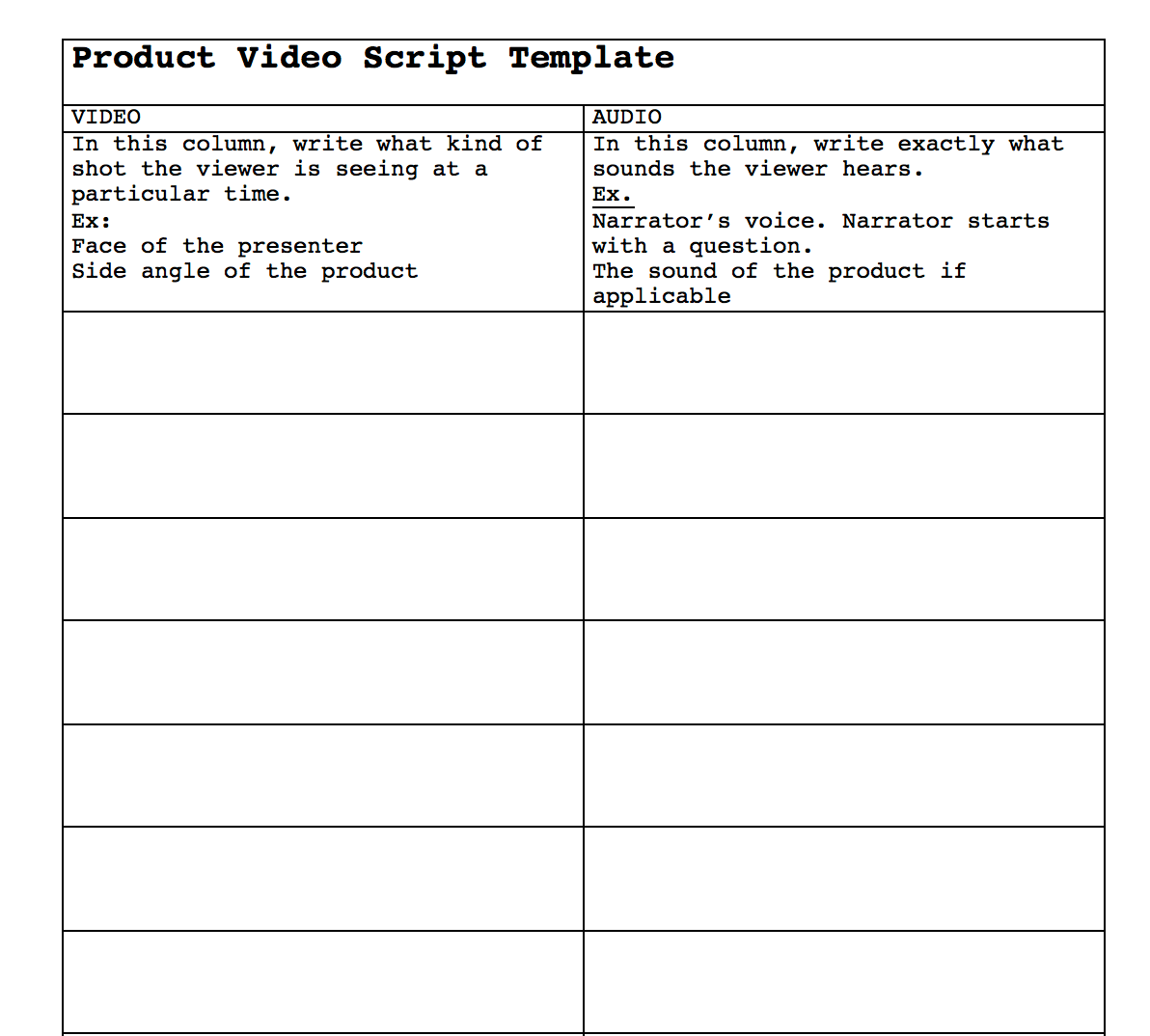 product video script